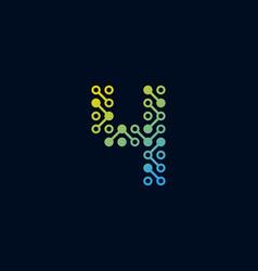 4 circuit digital number logo icon design vector