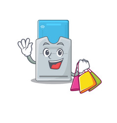 A happy rich key card waving and holding shopping vector