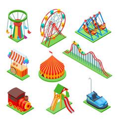 Amusement park isometric elements ferris wheel vector
