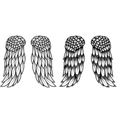 angel wings in tattoo style isolated on white vector image