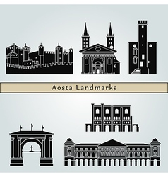 Aosta landmarks and monuments vector