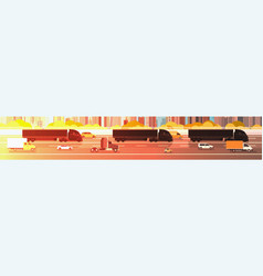 big semi truck trailers driving in line on highway vector image