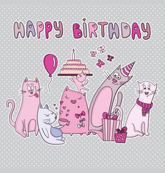 birthday card with funny cats vector image