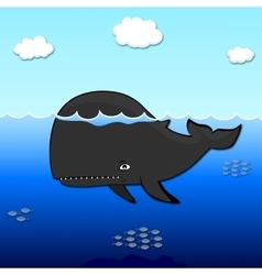 Black whale with the sea vector