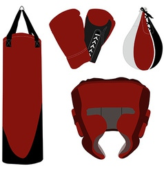 Boxing gloves bag and helmet vector image