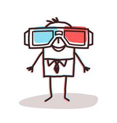 Businessman with big 3d glasses vector