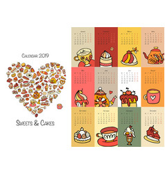 Cakes and sweets calendar 2019 design vector