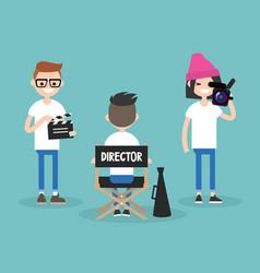 Camera crew director cameraman and assistant vector
