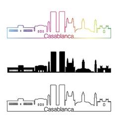 Casablanca skyline linear style with rainbow vector