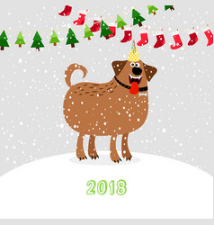 Christmas 2018 dog vector