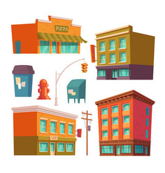 city buildings with apartments and shops vector image