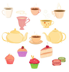 Collection of teacups teapots and sweets vector