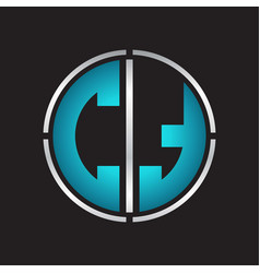 ct logo initial with circle line cut design vector image