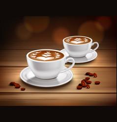 Cups cappuccino coffee composition vector