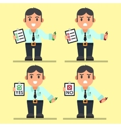 Cute Cartoon Office Workers with Checklist vector image