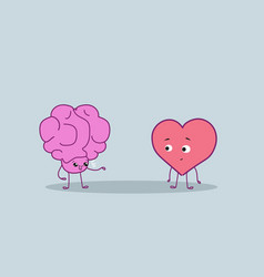 Cute human brain and heart couple standing vector