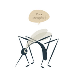 cute mosquito isolated on white background vector image