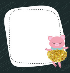 cute pig with dust glitters vector image