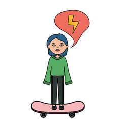Cute woman with skateboard character vector