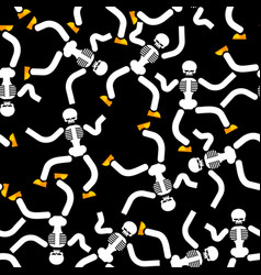 dancing skeleton seamless pattern hell background vector image