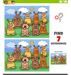 Differences educational game with comic dogs vector