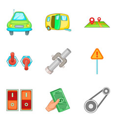 Engine check icons set cartoon style vector