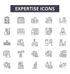 Expertise line icons signs set outline vector