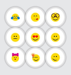 flat icon emoji set of pleasant winking caress vector image