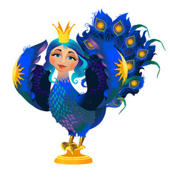 folk character of the bird with a woman face vector image