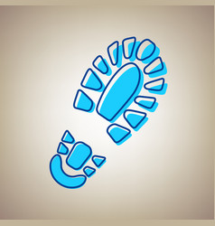 Footprint boot sign sky blue icon with vector