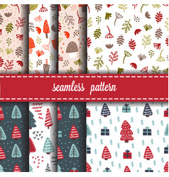 forest and christmas seamless pattern set vector image