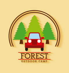 Forest outdoor camp jeep travel tree badge vector