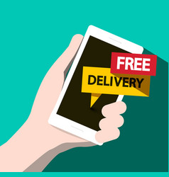 free delivery flat design phone vector image