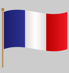 french flag on the flagstaff poster vector image