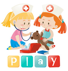 Girls playing doctor and nurse vector