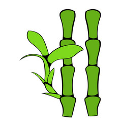 Green bamboo stem icon cartoon vector