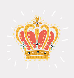 hand drawn golden royal crown vector image