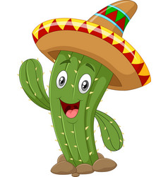 happy cactus waving hand isolated on white backgro vector image