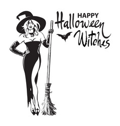 happy halloween witches hand drawn calligraphy vector image
