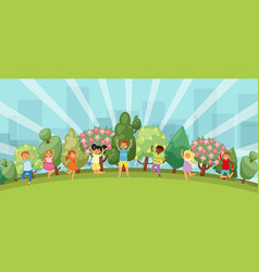 happy kids jumping in summer park funny boys cute vector image