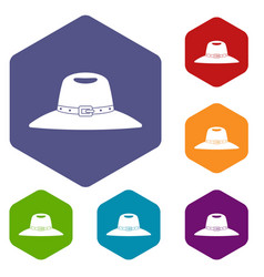 Hat icons set hexagon vector