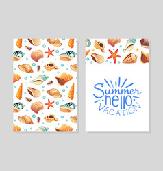 hello summer vacation card template with seashells vector image