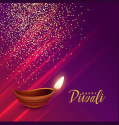 Hindu diwali festival greeting with sparkles vector
