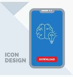 idea business brain mind bulb line icon in mobile vector image