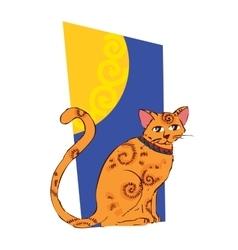 image orange cat on window vector image