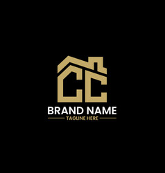initial letter c and c with roreal estate vector image