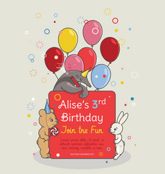 invitation card for children s birthday party vector image