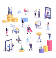 isometric office workers vector image