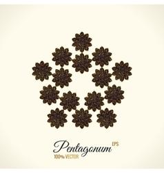 Logo design Floral round gold islam star vector