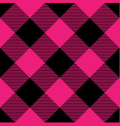 Lumberjack plaid pattern in pink and black vector